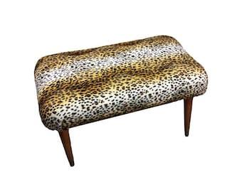 SALE Vintage Footstool - Mid Century Modern Stool, Upcycled Leopard Footstool, Faux Fur Animal Ottoman, Retro 1950s Footrest, NEW Upholstery