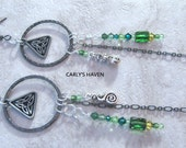 Handmade gunmetal Celtic knot earrings with green Swarovski crystals, ready to ship, gifts for women, St. Patrick's Day, made in Montana