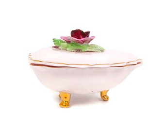 Vintage Pink Heart Trinket Box Denton China Vanity Box England Best Bone China Applied Pink Rose
