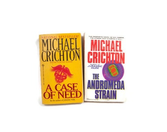 Vintage Michael Crichton Paperback Books A Case of Need 1969 The Andromeda Strain 1993