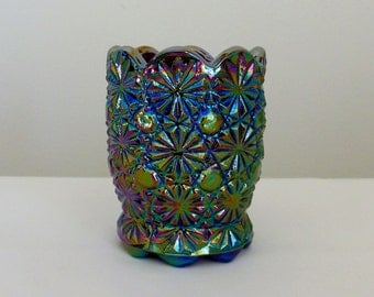 Daisy and Button Carnival Glass Toothpick Holder Smith Glass Company Blue Small Cup