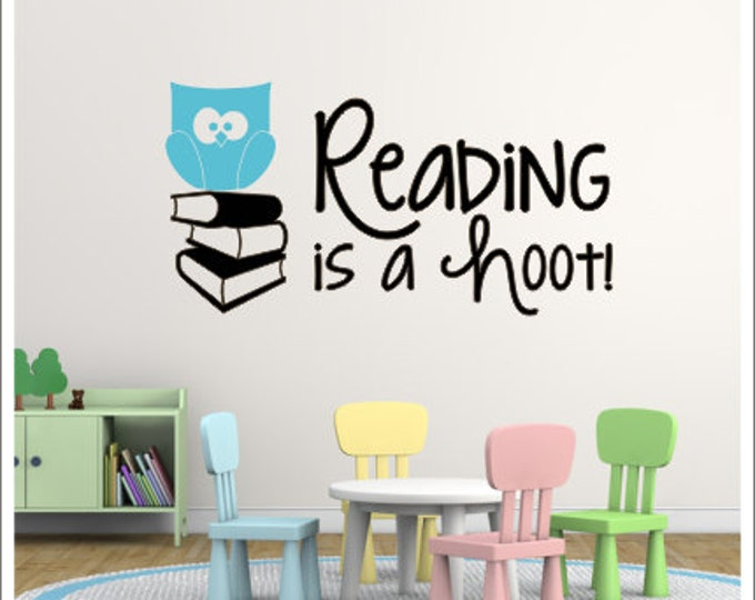 Reading is a Hoot Wall Decal School Classroom Decor Reading Center Decal Reading Nook Decor Reading Teacher Vinyl Decal School Classroom