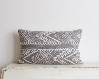 "Block printed chevron pillow cushion cover 12"" x 20"" in latte"