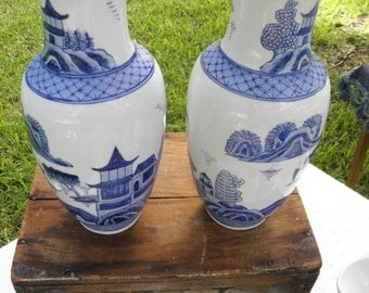 """Pair (2) Old Canton Hand Painted Mann Vintage 10.5"""" Vases, Blue & White Pottery"""