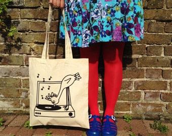 Tote Bag - Record Player Bird Tote - Screenprinted Tote Bag - Canvas Bag - Shopper Cotton Tote - Illustrated Tote Bag - hello DODO tote