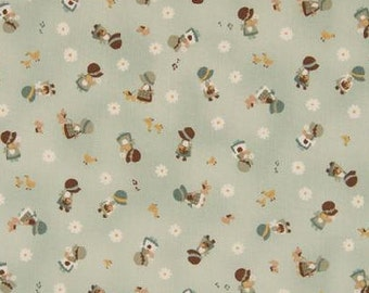 SALE | Kawaii Japanese Fabric by Cosmo - Cotton Broadcloth - Country Home in Sage Green - 1/2 YD