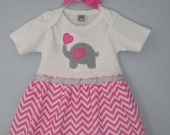 pink chevron elephant love baby dress/ pink and gray elephant