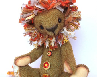 Artist Mohair Lion, Primitive Folk Art Doll