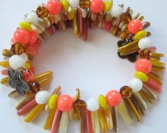 SALE Tahitian Sunrise Shell Memory Wire Bracelet