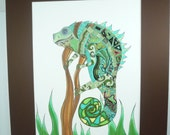 "Original pen and ink drawing, ""Chameleon"" nature art, green and blue, lizard drawing"