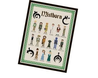 HALF OFF PATTERNS Sale Mistborn Inspired Cross Stitch Pattern - Pixel People Cross Stitch Pdf - Fantasy Cross Stitch Pattern