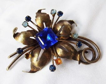 Vintage Costume Jewelry Sapphire Rhinestones in Sterling Setting