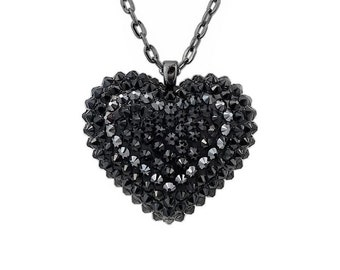 Mini Pavèd Heart Necklace in Midnight