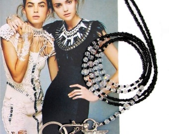 Lanyard, Black and crystal, beaded ID holder, badge clip holder, key chain, fashion lanyard, beaded key chain, accessories, handmade lanyard