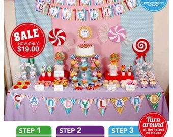 Candyland Birthday Party Package Personalized FULL Collection Set - PRINTABLE DIY - PS832CA1x