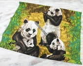Vintage Panda Bear Bark Cloth Fabric Print Panel by Wesco Reltex