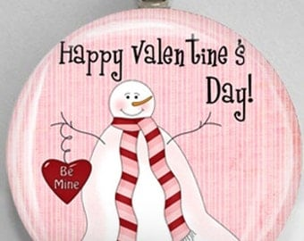 Interchangeable Magnetic Happy Valentine's Day Snowman Be Mine #46 Pendant Necklace Handmade