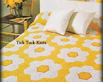 No.514 Afghan Crochet Pattern PDF Vintage - Flower Power Hexagon Afghan - Motifs Blanket Throw Bed Cover - 1970's Retro Crochet Pattern