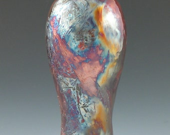 STUNNING Vase Raku Iridescent Rainbow Handmade Pottery