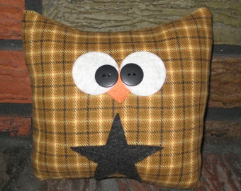 Yellow and Black Owl - Recycled Flannel Shirt - Owl - Owl Decor