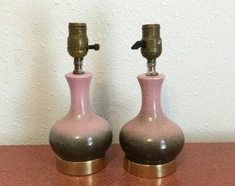 Vintage Ceramic Lamps, set of two Pink and black midcentury modern bedside lamps, Aladdin Lamps