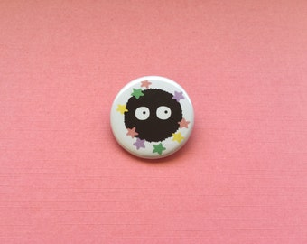 Soot Sprite Pinback Button, Soot Sprite Button, Soot Sprite Pin, Soot Sprite Badge, Anime Button, Anime Pinback Button - Made to Order