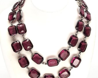 Long Heavy Art Deco Amethyst Crystal Glass Sterling Silver Bezel Set Necklace