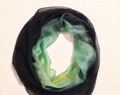 Hand Painted Silk Scarf Shibori in Yellow,Green and Black shades#3