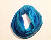 Hand Painted Silk Scarf Shibori in Turquoise,Blue and Gray shades#6