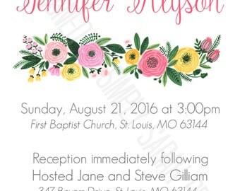 Custom Floral Invitation  **PRINT AT HOME**