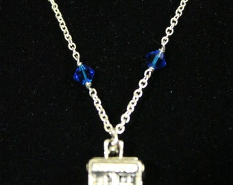 3D TARDIS - Doctor Who inspired Necklace with Crystals