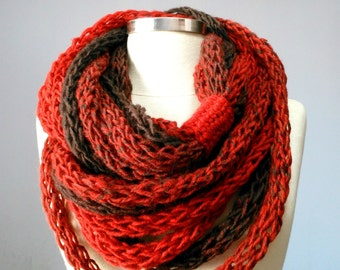 Tube scarf, Finger Knitted infinity scarf, colorfull handmade neckwarmer, autumn winter fashion women accessories