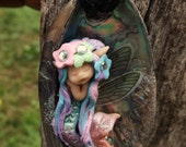sweet fairy fairie mermaid  paua shell necklace  tiny  ooak