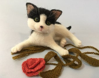 Kitten, Black and White, Cat, Custom Order Only, Needle Felted by Marina Lubomirsky
