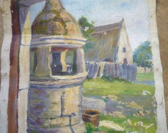 Distressed Antique French Oil Painting Farmyard with Stone Well Original Painting