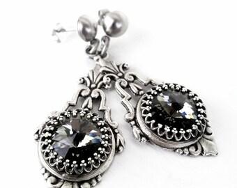Swarovski Earrings Victorian Gothic Earrings Black Diamond Earrings Post Earrings Filigree Earrings Gothic Chic Victorian Jewelry