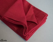 Placemat set of 4 oversized rectangle napkins cotton fabric bordeaux dark red solid color mitered corners