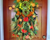 "Spring/ Summer/ fall wreath ""Citrus Kiss"", teardrop floral swag, front door wreaths, vertical floral swag, door swag, all year wreath"
