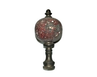 Lamp Finial Mottled Speckled Deep Red Wooden Ball Very Vintage