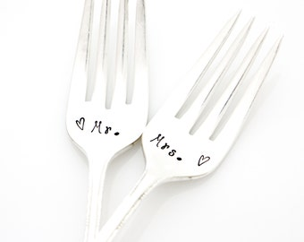 Mr. and Mrs. wedding forks, hand stamped wedding silverware for vintage engagement gift.