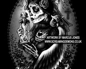 Gothic, Zombie,Rockabilly, OWL, dark Art Print by Marcus Jones