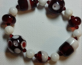 Red and White Lampwork Bracelet