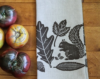 Hand printed linen tea towel, linocut autumn squirrel, kitchen/bathroom (made to order)