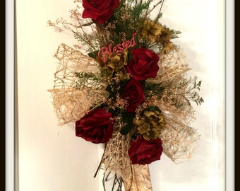 Rustic Birch Wood Red Rose Wall or Door Swag OOAK Dried Flower Home Decoration