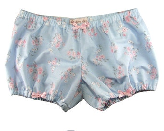 Bloomers blue with pink floral print lolita short low rise japanese fashion roomwear room wear pajamas harajuku kawaii