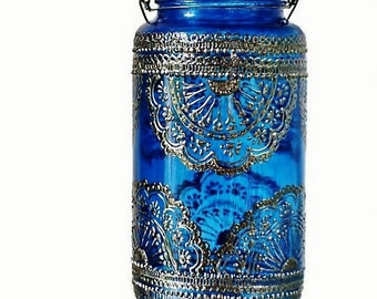 Painted Mason Jar Lantern, Bohemian Patio Table Decor, Azure Blue Glass with Pewter Henna Design