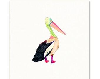 Pelican Watercolor Art Print. Cute Sea Bird Painting. Playful Coastal Decor. Pelican Painting. Colorful Pelican Art Print. Kids Room Decor.