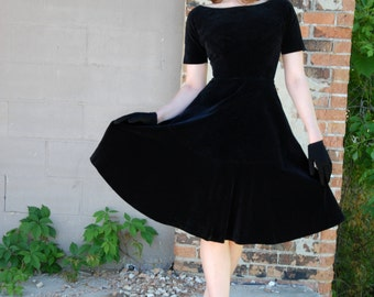 Vintage black velvet dress, 1950s formal fit-and-flare XS