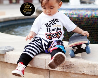 Rollin with my Homies Embroidered Applique Shirt or Bodysuit Toddler, Baby Sizes