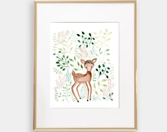 fawn deer Art print Watercolor 8x10